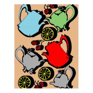 1950s vintage teapots and fruit postcard
