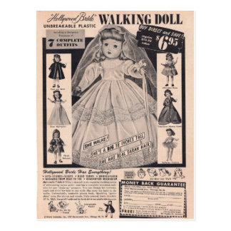 1950's Walking Doll Hollywood Bride Postcard