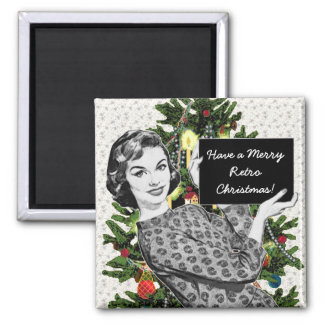 1950s Woman with a Christmas Sign 2 Inch Square Magnet