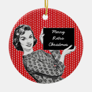 1950s Woman with a Christmas Sign Christmas Tree Ornaments