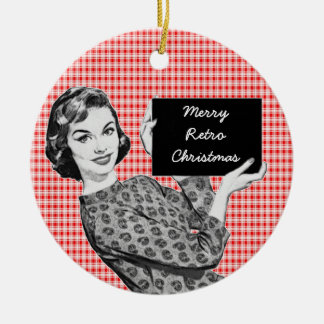 1950s Woman with a Christmas Sign V2 Ceramic Ornament