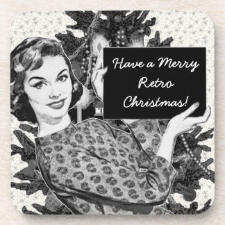 1950s Woman with a Christmas Sign V2 Coaster