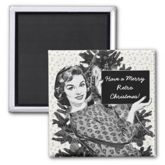1950s Woman with a Christmas Sign V2 Magnet