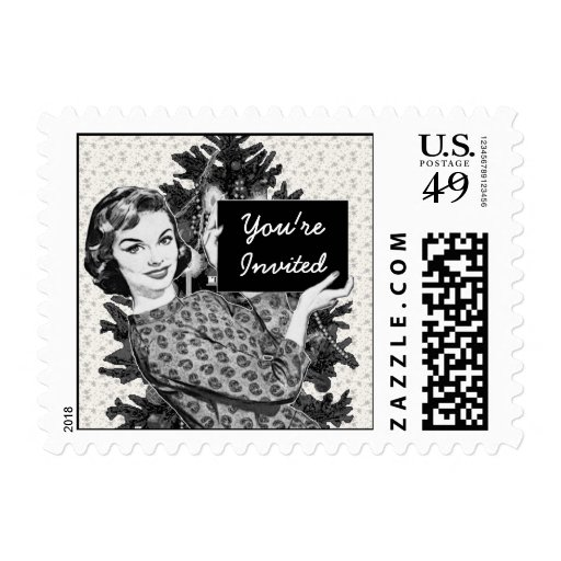 1950s Woman with a Christmas Sign V2 Postage