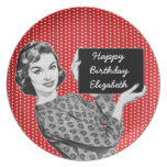 1950s Woman with a Sign Birthday Dinner Plates