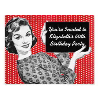 1950s Woman with a Sign Birthday 4.25x5.5 Paper Invitation Card