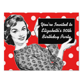 "1950s Woman with a Sign Birthday 4.25"" X 5.5"" Invitation Card"