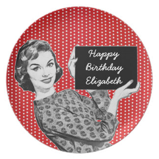 1950s Woman with a Sign Birthday Plate