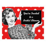 1950s Woman with a Sign Bridal Shower Custom Invitations