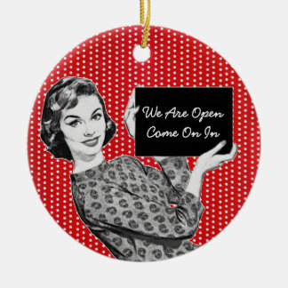 1950s Woman with a Sign Ceramic Ornament