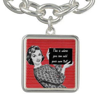 1950s Woman with a Sign Charm Bracelet