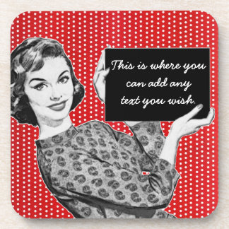 1950s Woman with a Sign Coaster