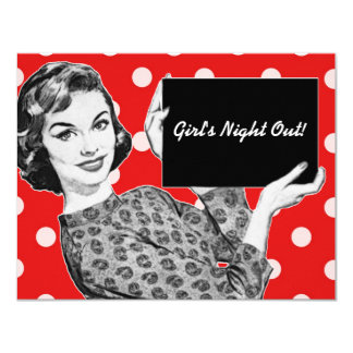 1950s Woman with a Sign 4.25x5.5 Paper Invitation Card