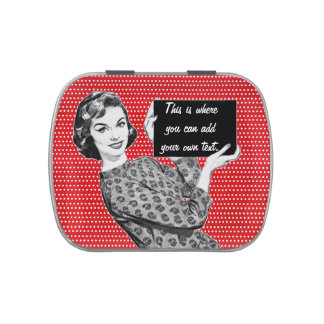 1950s Woman with a Sign Jelly Belly Tin