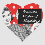 1950s Woman with a Sign Kitchen Heart Stickers