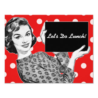 1950s Woman with a Sign Luncheon Card