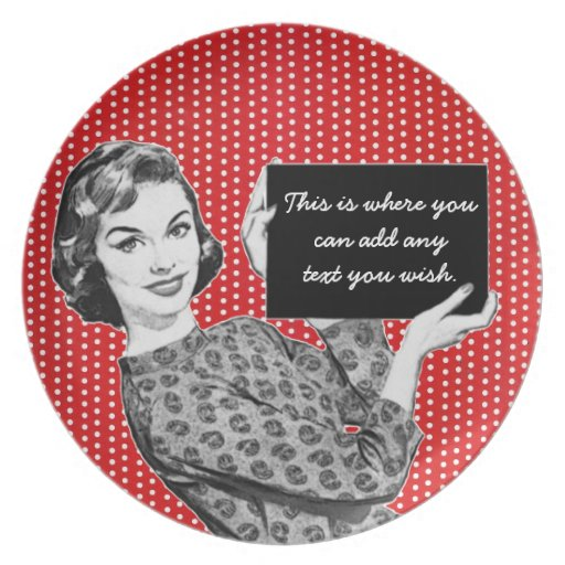 1950s Woman with a Sign Party Plates