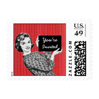 1950s Woman with a Sign Postage Stamp