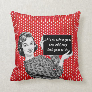 1950s Woman with a Sign Throw Pillow