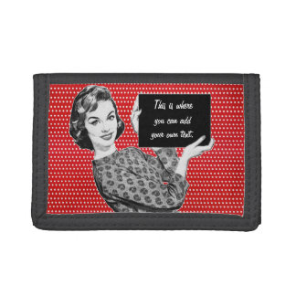 1950s Woman with a Sign Trifold Wallets