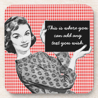 1950s Woman with a Sign V2 Beverage Coaster