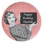 1950s Woman with a Sign V2 Birthday Dinner Plate