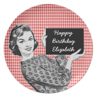 1950s Woman with a Sign V2 Birthday Plate