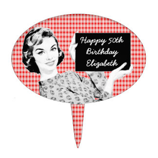 1950s Woman with a Sign V2 Cake Topper