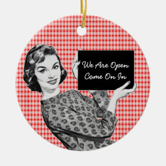 1950s Woman with a Sign V2 Ceramic Ornament