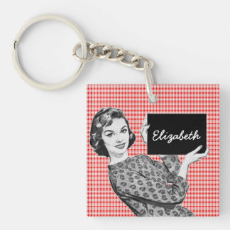 1950s Woman with a Sign V2 Keychain