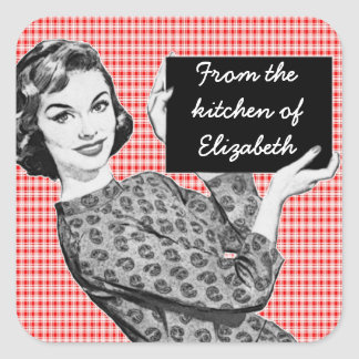 1950s Woman with a Sign V2 Kitchen Labels Square Stickers