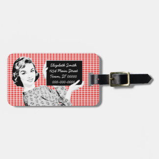 1950s Woman with a Sign V2 Travel Bag Tags