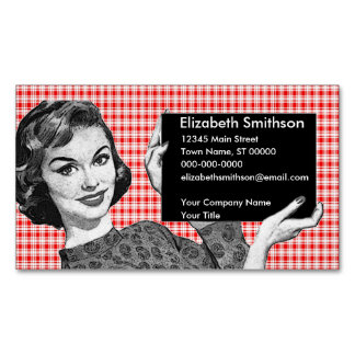 1950s Woman with a Sign V2 Magnetic Business Card