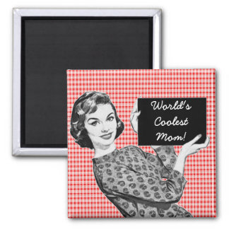 1950s Woman with a Sign V2 Mom Refrigerator Magnet