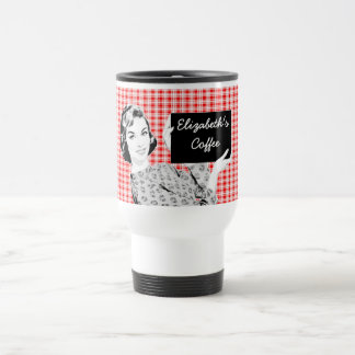 1950s Woman with a Sign V2 15 Oz Stainless Steel Travel Mug