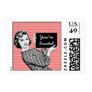 1950s Woman with a Sign V2 Postage Stamp