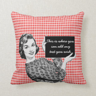 1950s Woman with a Sign V2 Throw Pillow