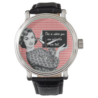 1950s Woman with a Sign Watch