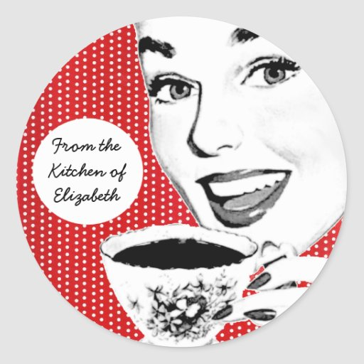 1950s Woman with a Teacup Kitchen Label Classic Round Sticker