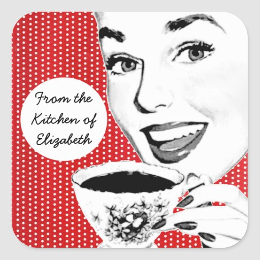1950s Woman with a Teacup Kitchen Label Square Sticker