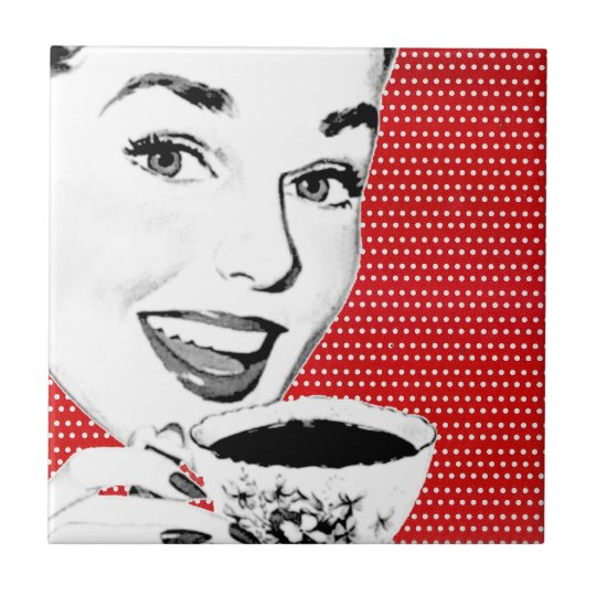 1950s Woman with a Teacup Tile