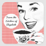 1950s Woman with a Teacup V2 Kitchen Label Stickers