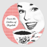 1950s Woman with a Teacup V2 Kitchen Label Sticker