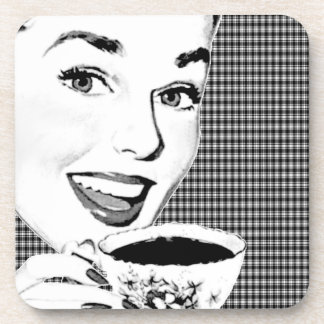1950s Woman with a Teacup V3 Beverage Coaster