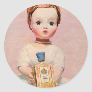 1950s Yardley ad with Madame Alexander doll Classic Round Sticker