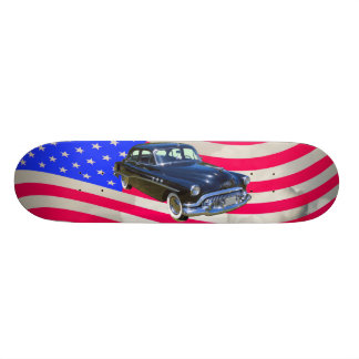1951 Buick Eight Antique Car And US Flag Skateboard Deck