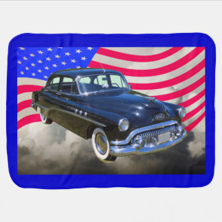 1951 Buick Eight Antique Car And US Flag Stroller Blanket