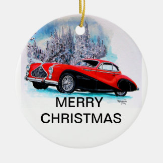 1951 Talbot-Lago T26 GS Coupe CHRISTMAS CARD Ceramic Ornament