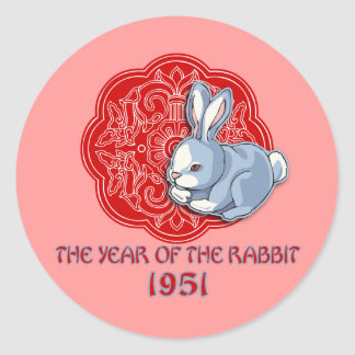 1951 The Year of the Rabbit Gifts Classic Round Sticker