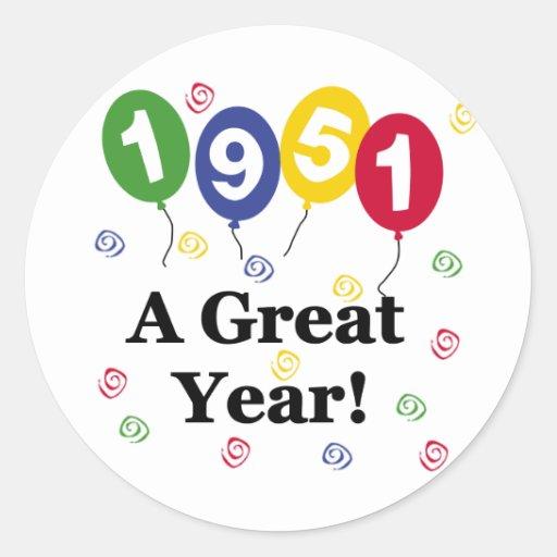 1951 un cumpleaños del gran año pegatina redonda